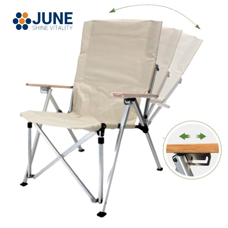 Outdoor camping recliner picnic beach Relaxation chair garden Folding Chair Three-Speed Adjustable Long Back Chair