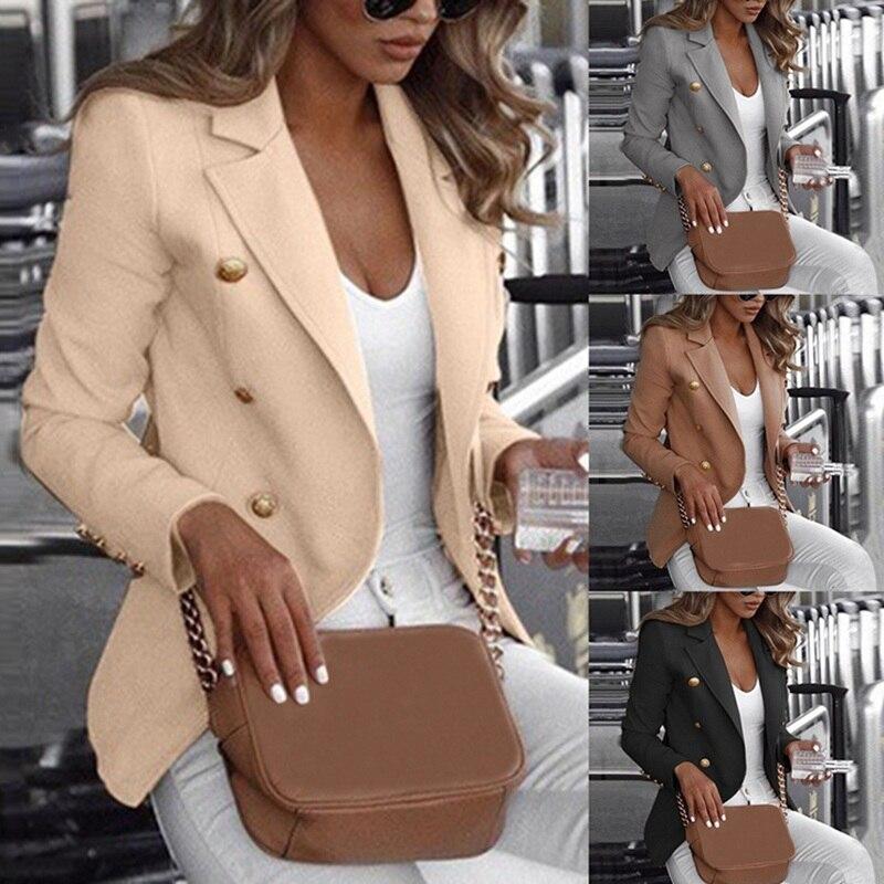 Mode Slim Fit Zweireiher Frauen Langarm Blazer Anzug Taste Arbeit Büro Dame Jacke Herbst Plus Größe Mantel S-5XL