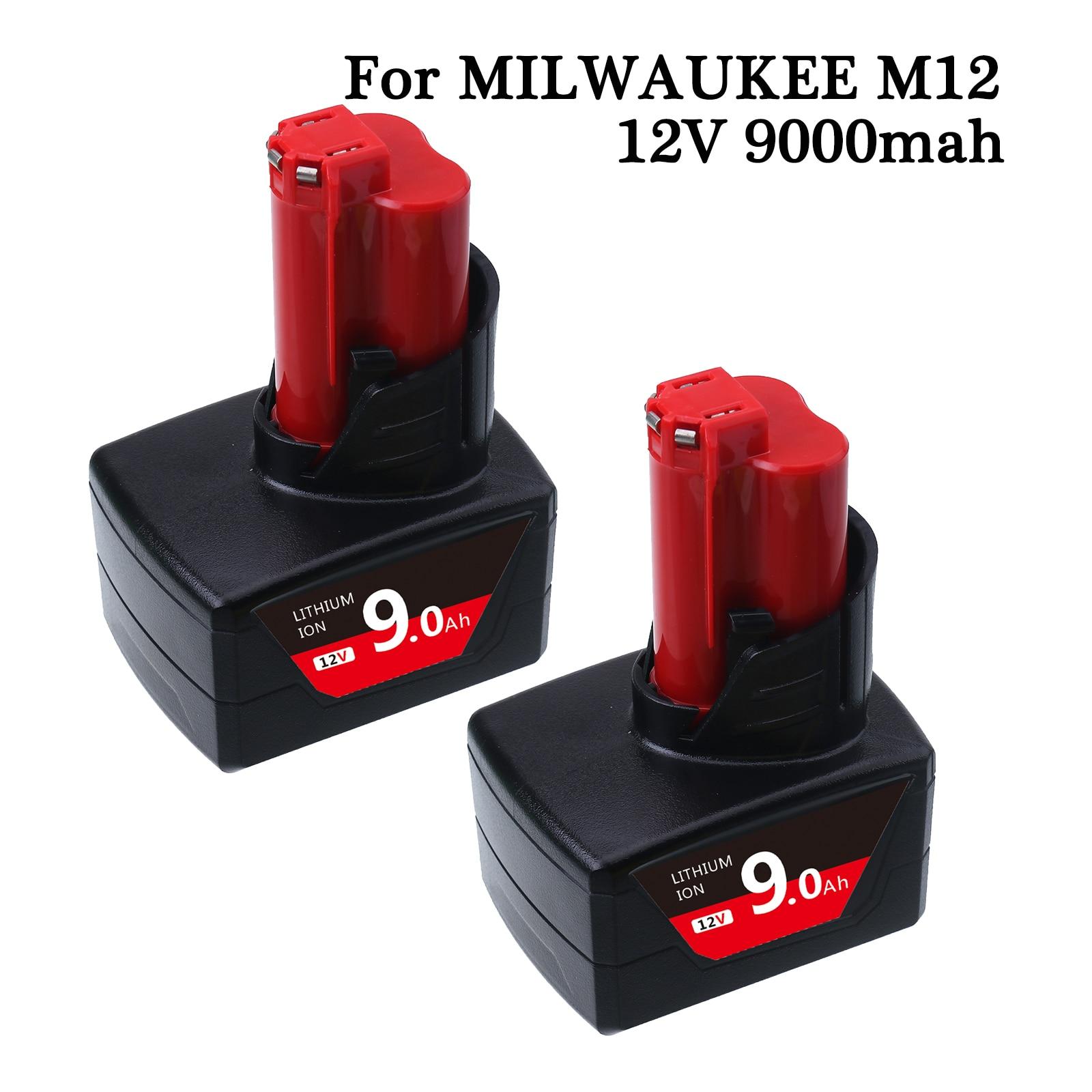 بطارية بديلة 9000mAh 12 فولت لميلووكي M12 XC 48-11-2410 48-11-2420 48-11-2411 مفك براغي 12 فولت أدوات لا سلكية Batteri