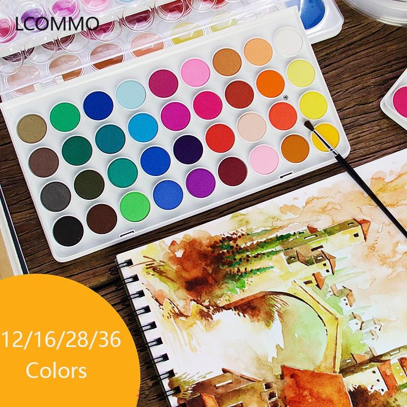 12/16/28/36 couleur solide aquarelle ensemble de peinture pratique avec pinceau peinture Art fournitures débutant papeterie aquarelle stylo
