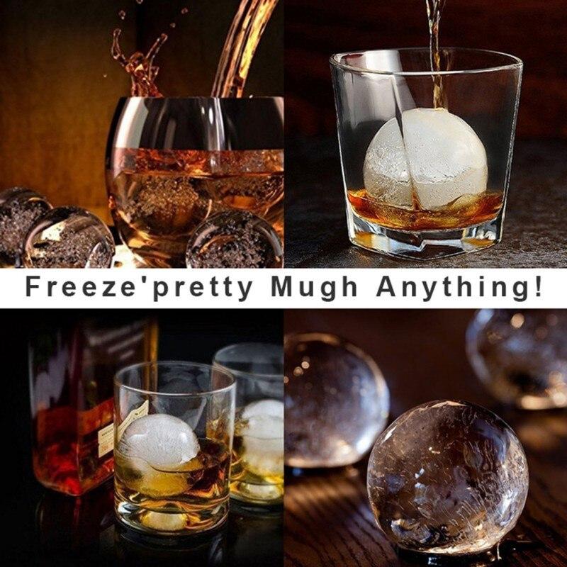 Bandejas de cubitos de hielo-Juego de 2 moldes de silicona-Bola de hielo whisky Maker y grandes cubos cuadrados congelados para cóctel, Bourbon.