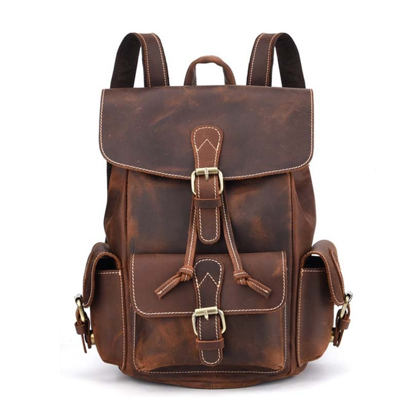 AETOO-حقيبة ظهر ريترو من جلد البقر للرجال ، حقيبة ظهر ذات طابع أوروبي وأمريكي