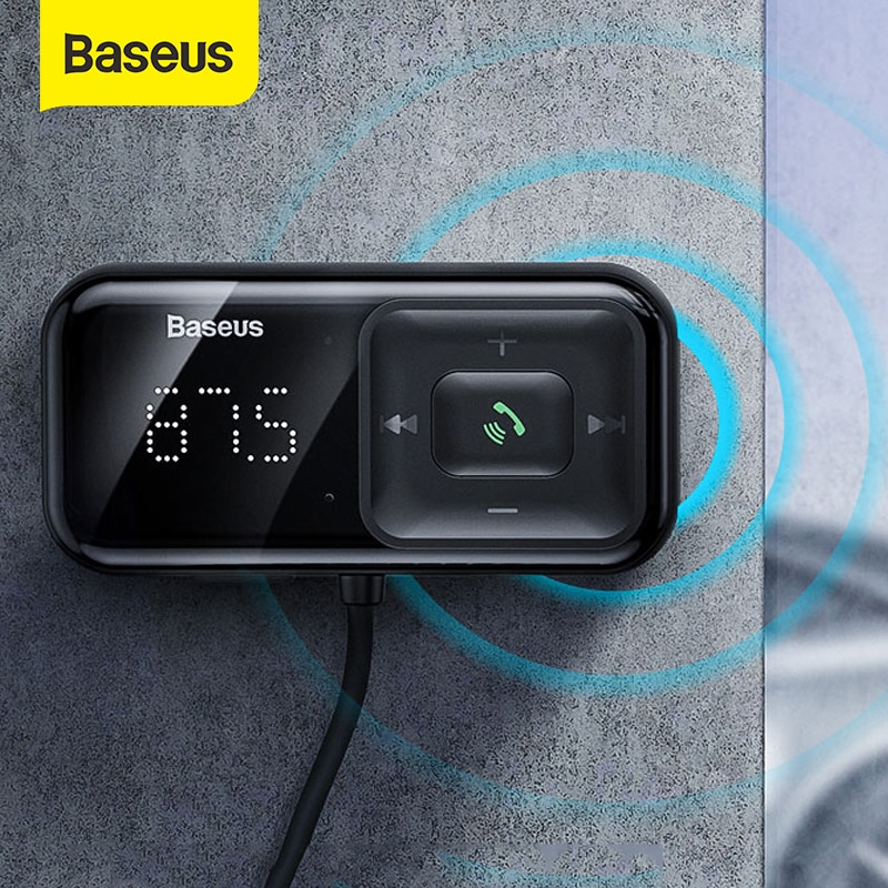 Baseus-جهاز إرسال FM لاسلكي للسيارة بتقنية Bluetooth 5.0 ، مستقبل مشغل MP3 ، شاحن USB مزدوج 3A ، ولاعة سجائر لسامسونج