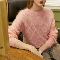 retro argyle knitted sweaters women spring autumn thin loose casual pullovers solid colors o neck jumpers warm long sleeve tops