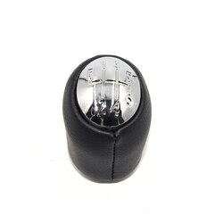6 engrenagem do carro shift gear knob com tampas de cromo couro genuíno para renault laguna ii 2 mk2 2001 2002 2003 2004 2005 2006 2007