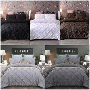 Luxury Pinch Pleat Duvet Cover Black Bedding Set 3pcs Bed Linen Set for Kids Boys Girls Comforter Cover Set With Pillowcase