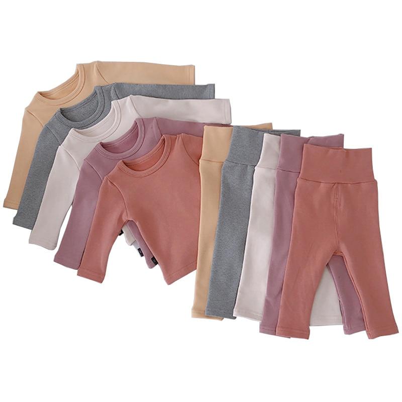 Ropa de bebé para niña, Otoño Invierno, conjunto de niños, además de la parte superior de terciopelo y de la cintura alta, cómodos pantalones para niños 2 piezas LZ533