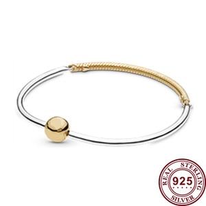 100% 925 брелок Silver Pan Bracelet Round Classic Gold Three Link Pan Bracelet Fit European Charm Bracelets Women Jewelry