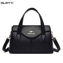 High Quality Solid Color Shoulder Bags for Women 2021 Fashion Leather Handbags Crossbody Bag Vintage