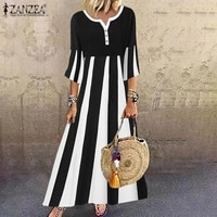 zanzea elegant maxi long kaftan dress summer casual striped printed sundress women 34 flare sleeve casual ol vestidos oversized