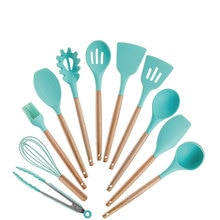 11 stücke Geschirr-Sets Holz Griff Nicht-stick Topf Silikon Spachtel Kit Gadget Spachtel Zange Schöpfen Utensilien Food Grade kochgeschirr