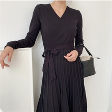 HziriP V-Neck Maxi Dress Hot Loose-Fitting Knitted 2021 Sexy Autumn Close Waist Prom Robe Mujer Slim