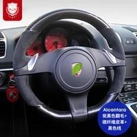 real alcantara carbon fible steering wheel cover for porsche macan cayenne taycan panamra 718 macan 9ya 911 suture hand grip