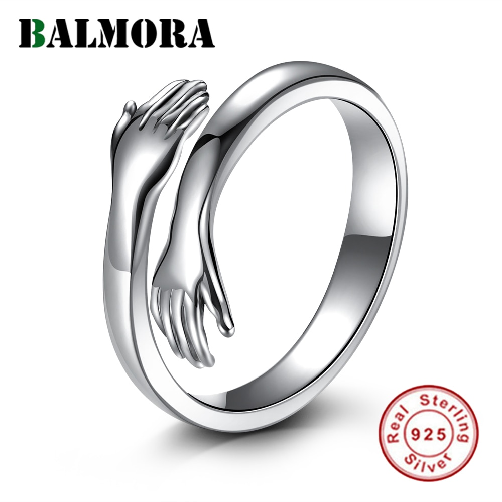 AliExpress - BALMORA 100% 925 Sterling Silver Love Hug Ring Open Stacking Rings For Women Girls Lovers Retro Statement Fashion Trend Jewelry
