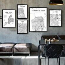 Iskandinav tarzı Retro şehir hattı çizim haritası tuval boyama New York Paris Tokyo londra San Francisco Chicago hat harita resimleri