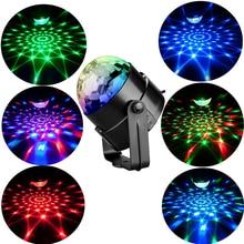 3W RGB LED Bühne Wirkung Lichter Sound Aktiviert Rotierenden Bean DJ Disco Ball Party Strobe Lichter Für Home Party weihnachten Weihnachten