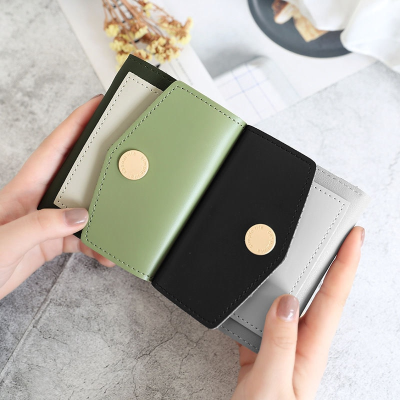 dudini fashion korean style wallet pu leather long section wallet women printing geometric pattern zipper 1 fold women wallets 2020 New Women Wallets Short Section Korean Version Small Three Fold Wallet Stylish and Simple Clutch Bag Wallet Wallet