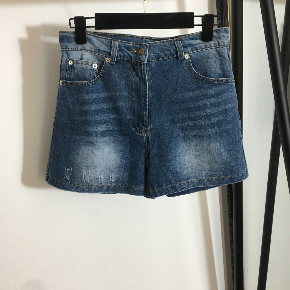 High Quality Luxury Summer Sexy Women New Metal Triangle Logo Denim Jean Shorts