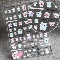 cute bear nail stickers japanese cartoon matte thin transparent decals diy style charm nail decoration accessories