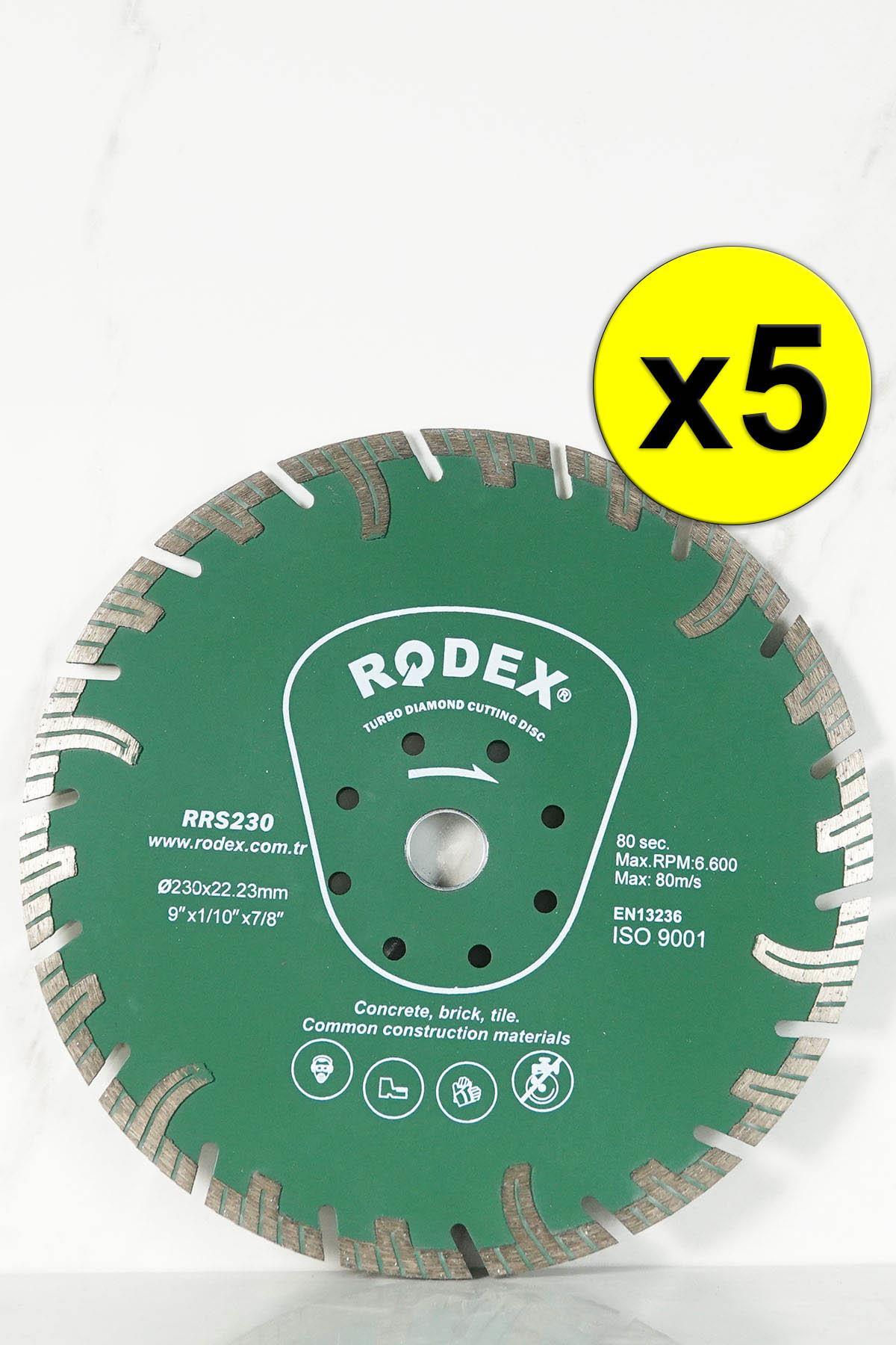 Rodex RRS230 Channel Turbo Diamond Cutting Disc for Marble, Brick, Granite, Stone 230mm 5 Pcs