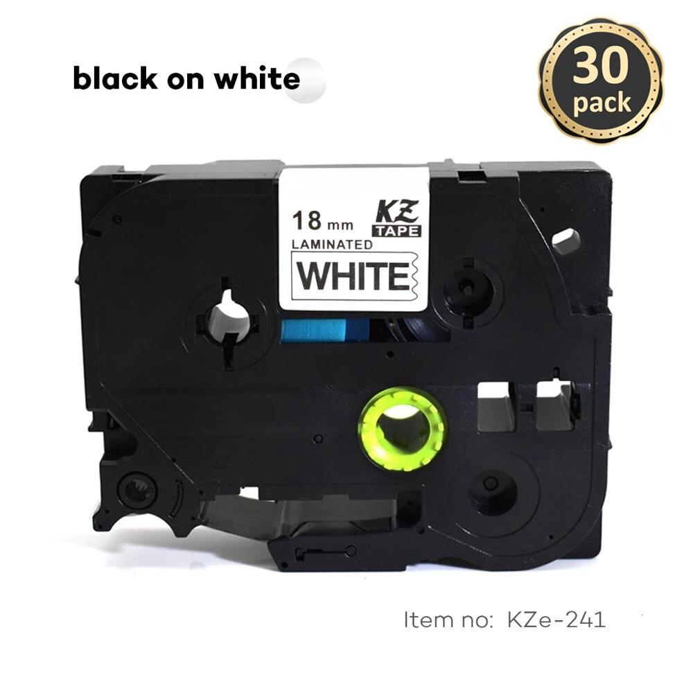 CIDY 30 قطعة/الوحدة تزي 241 TZ 241 TZ241 TZE241 الأسود على الأبيض مغلفة شريط ملصقات متوافق لأخيه P اللمس tz-241 tze-241