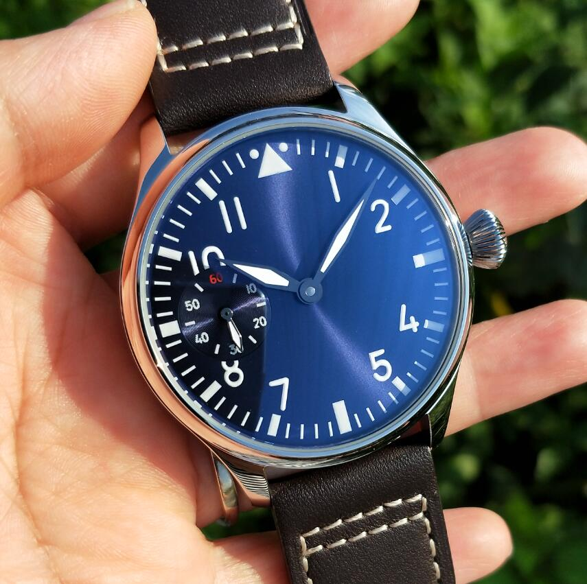44mm Pilot not have logo Mechanical Hand Wind Men's Watch blue dial Mineral Glass/Sapphire Seagull s