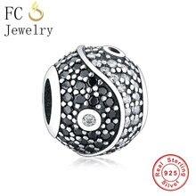 FC Jewelry Fit Original Pandora Charms Bracelet  925 Sterling Silver Black Micro Pave Zircon Stone Yinyang Tai Chi Bead Berloque