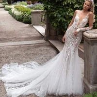wholesale elegant mermaid lace long sleeve bride wedding gowns illusion boat neck bridal dresses sexy back out court train 2020