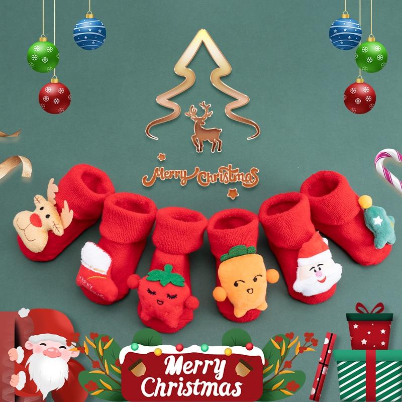 Зимние детские носки для девочек и мальчиков, рождественский подарок, одежда для малышей, новогодние носки короткие нескользящие носки для ...