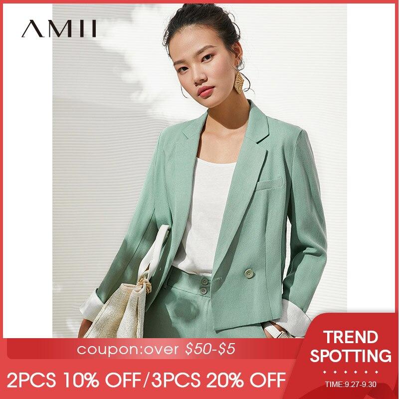 Amii بساطتها الخريف المرأة البدلة مجموعة مكتب سيدة السترة قصيرة سترة عالية الخصر السراويل عادية قطعتين مجموعة للنساء 62060030