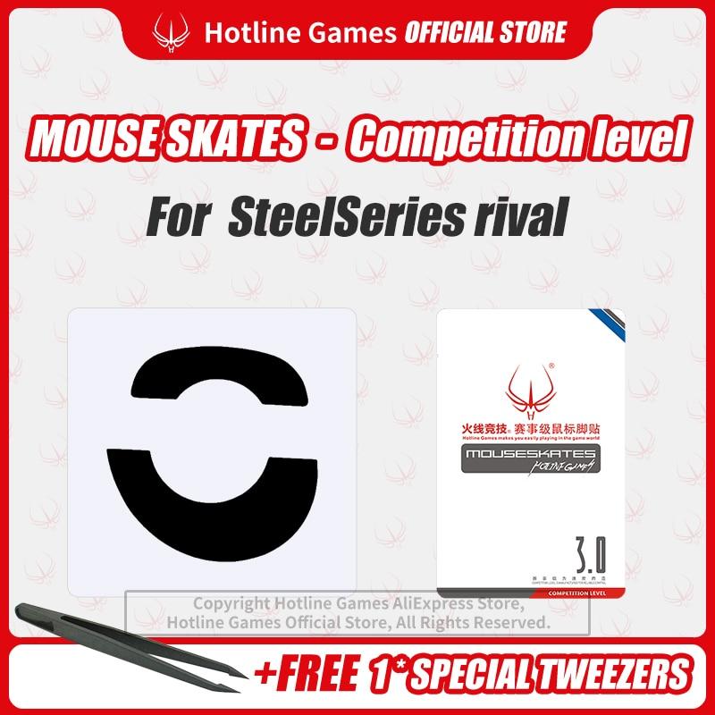 Hotline Games Mouse Skates Nivel de competencia, patines de ratón, pies de reemplazo de almohadilla de ratón para SteelSeries Rival 0,28mm/0,6mm de espesor