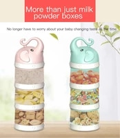 3 layers bear style infant milk powder box portable out large capacity sub packing storage tank sealed toddle snacks container
