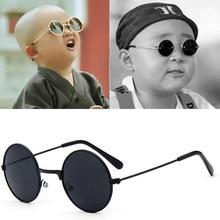 Occhiali da sole per bambini rotondi neri in metallo marca bambina/ragazzo bambino bambino occhiali occhiali oculos UV400 tuta piccola per 2 ~ 6 anni
