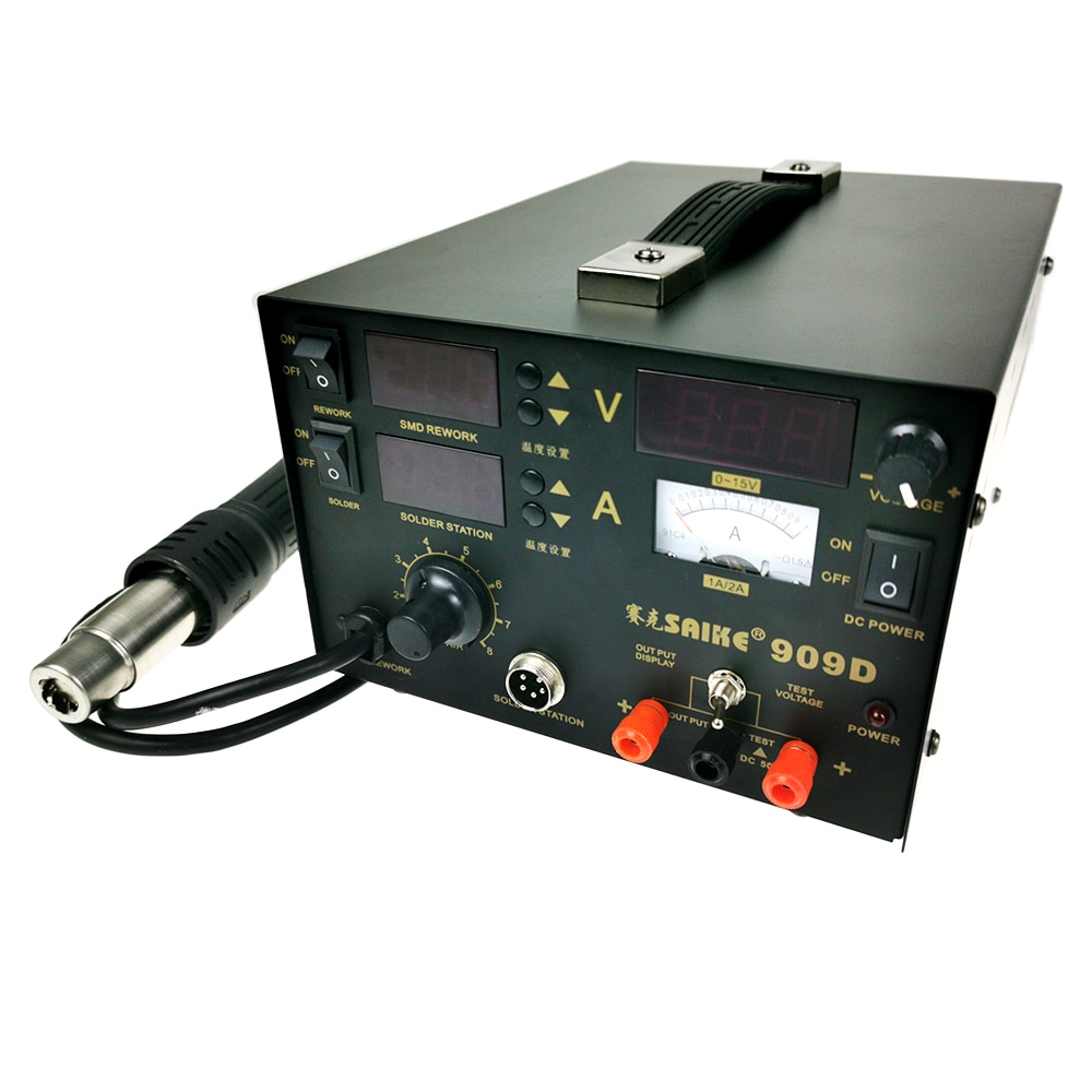 3 In 1 Heat Gun Desoldering Station Soldering Iron+Hot Air Gun+Power Supply SAIKE 909D Rework Station enlarge