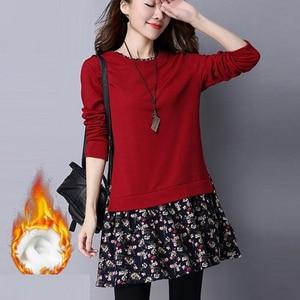 Autumn Winter Women Plush Warm Sweatershirt Dress Female Plus Size 3XL 4XL 5XL Floral Patchwork Pleated Shirt Dresses Vestidos