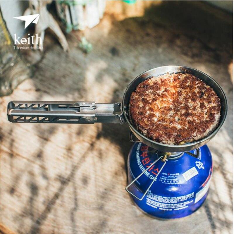Mini sartén de titanio de 140 ml, olla de bistec portátil con mango plegable, utensilios de cocina, senderismo, Camping, Picnic, vajilla Ti6032