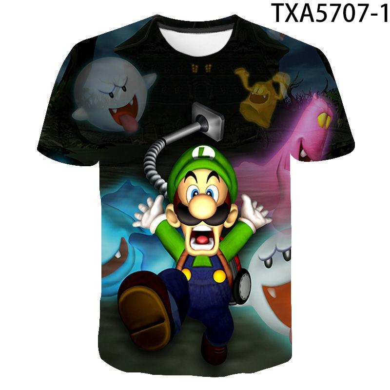 Luigis Mansion-Camiseta de baloncesto con estampado 3D para niño y niña, ropa...