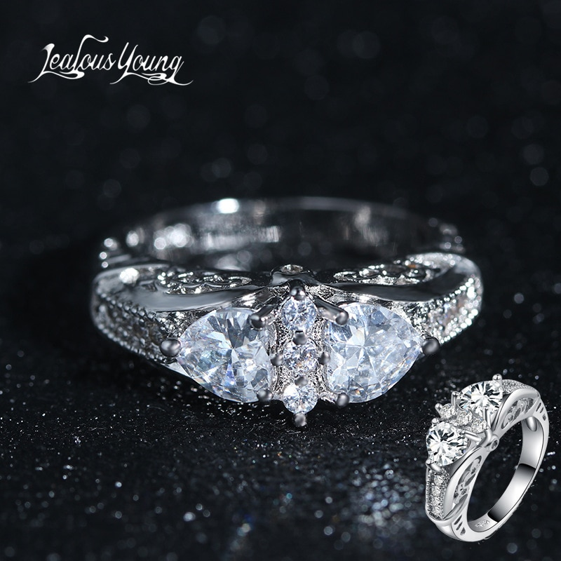 Cute Female Girls White Heart Wedding Ring Luxury Silver Color CZ Stone Ring Promise Engagement Rings for Women Jewelry Gift