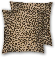 leopard skin wild animal pattern throw pillowcases 2 per set decoration for bedroom living room sofa and bed 18 x18