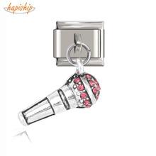 Hapiship 9mm de largeur Original Daisy Microphone rose strass italien breloque pour Bracelet 9mm en acier inoxydable fabrication de bijoux DJ20