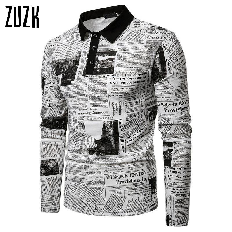 Men Casual POLO Shirt Fashion  Newspaper Letter Printing  Men Long Sleeve POLO Shirt