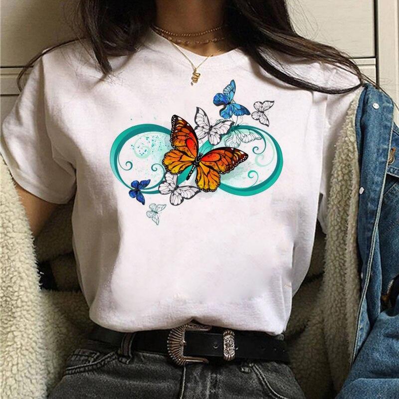 Женская футболка с принтом бабочки, летняя футболка с графическим принтом, футболка в стиле Харадзюку, женская футболка с коротким рукавом, ...