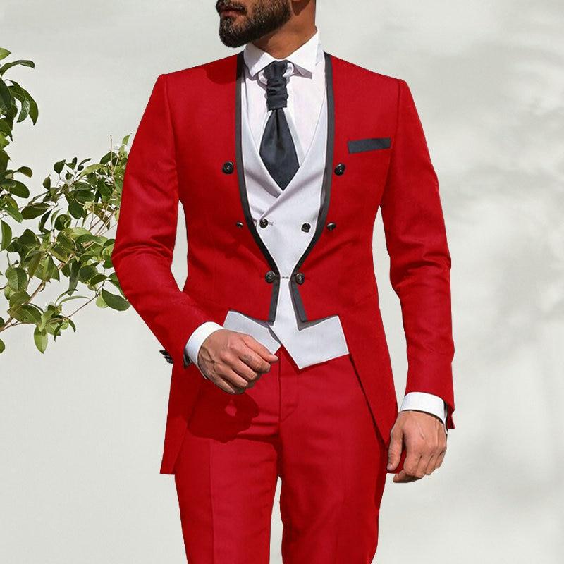بدلة زفاف ايطالية للرجال ، 3 قطع ، تصميم معطف ذيل ، أحمر ، نحيف ، بدلة زفاف ، بدلة رسمية للعريس ، أفضل بليزر ، مجموعة جديدة 2021