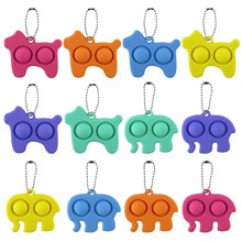 New Animal Shape Soft Push Pop Bubble Sensory Fidget Simple Dimple Toy Stress Reliever Toy Keychain