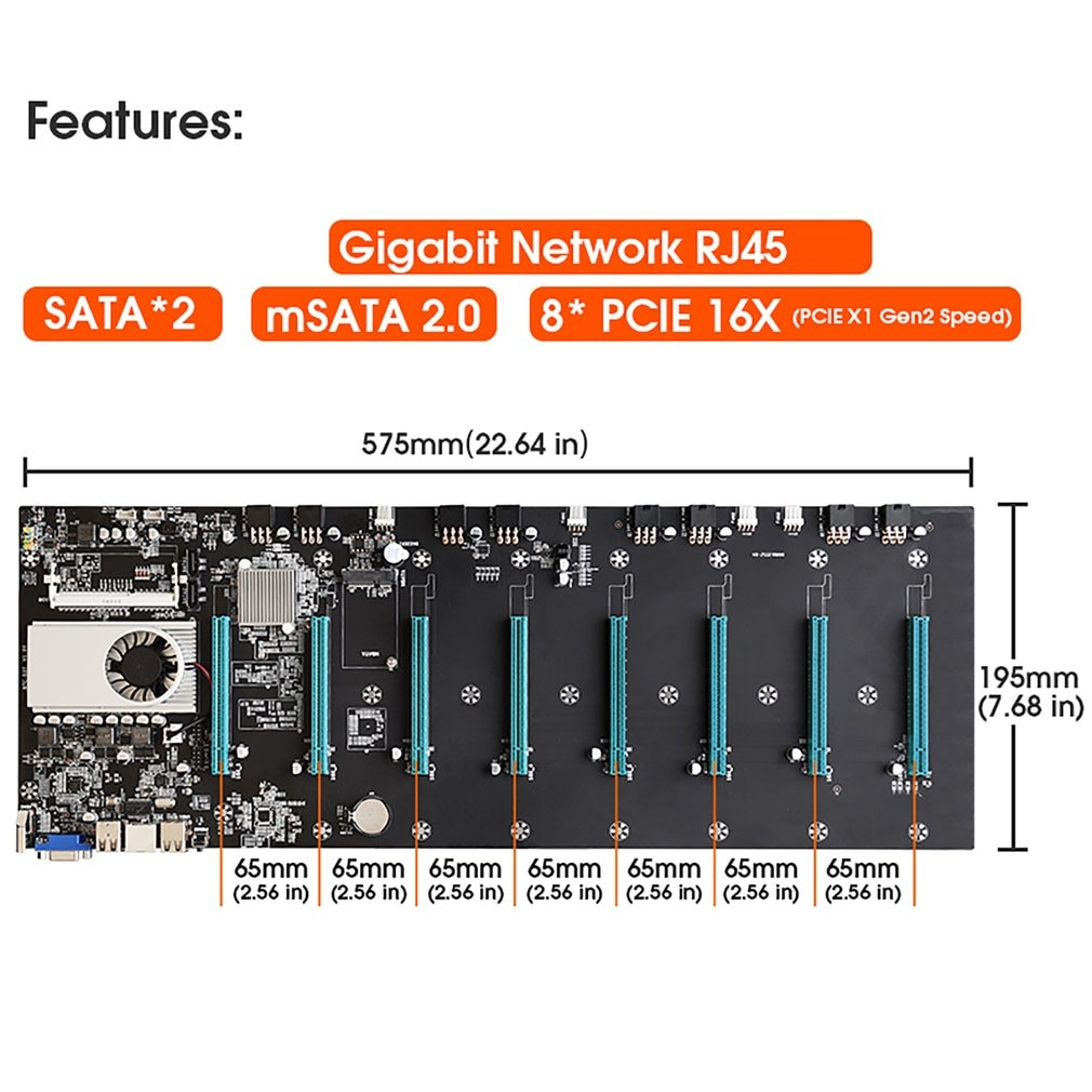 In Stock BTC-S37 4GB Miner Motherboard Expandable port 8 * PCIE 16X /4 * USB2.0 /DDR3 Sodimm Slot/ Support 1066/1333/1600mhz enlarge