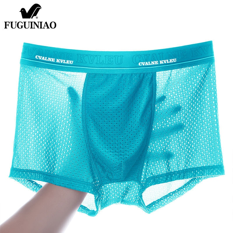 2020 Panties Mens Ice Silk Boxer Underwear Men Mesh Boxers Breathable Sexy Boxershorts Man Solid Comfortable Underpants 4XL
