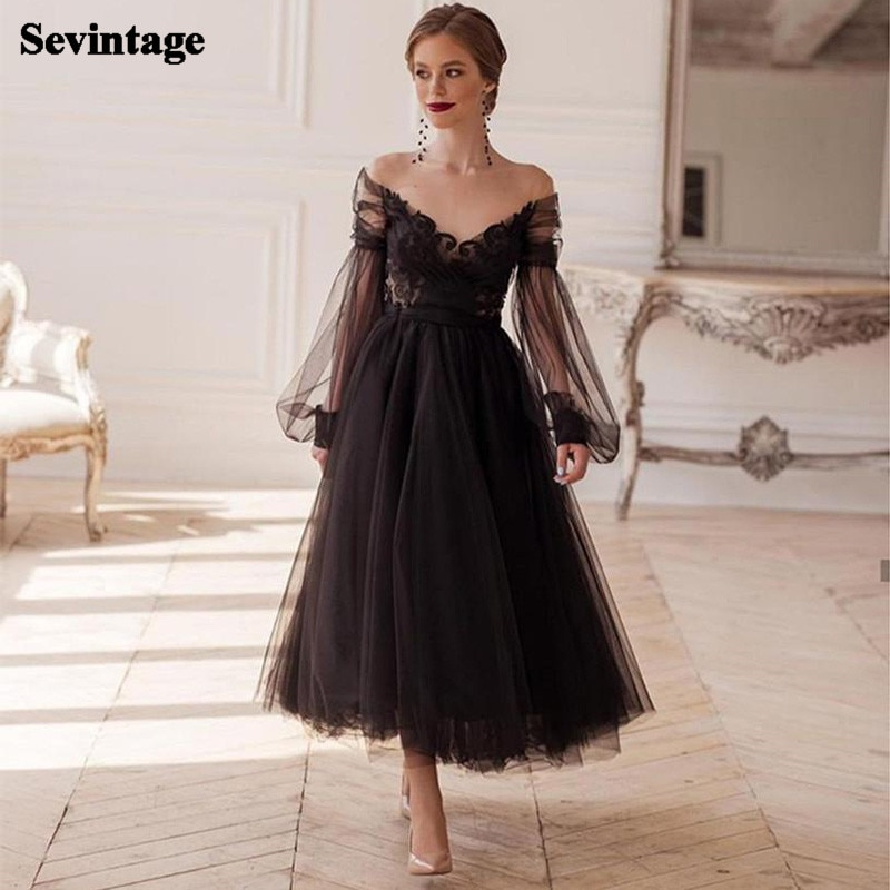 Sevintage Black Long Puff Sleeves Prom Dresses Illusion O-Neck Lace Homecoming Gowns Tea-Length Tulle Wedding Party Dress Bow