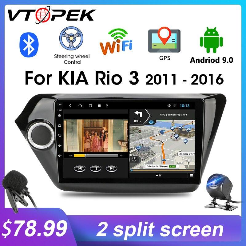 Vtopek Android 9.0 2din Car Radio GPS Navigation Multimedia Player for Kia RIO 3 4 Rio 2011-16 Head Unit Bluetooth auto stereo