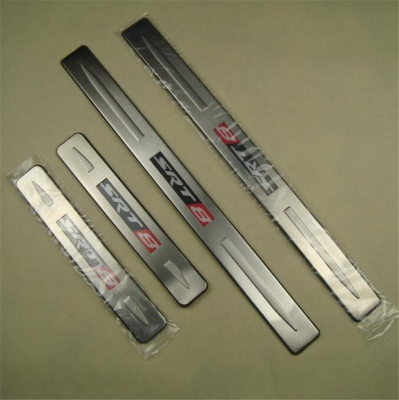 Aço inoxidável led peitoril da porta placa scuff guarda soleiras protetor guarnição para chrysler 300 300c srt8
