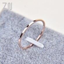 1mm de titânio fino aço prata cor casal anel simples moda rosa ouro cor dedo anel para presentes femininos e masculinos
